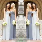 Silver/Gray Chiffon Bridesmaid Dress Long Prom Evening Gowns Size 6 8 10 12 14 +