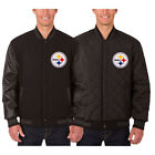 Pittsburgh Steelers Wool & Leather Reversible Jacket with Embroidered Logos