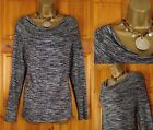 NEW EX M&S FINEKNIT SOFT STRETCHY SILVER GREY & BLACK COWL NECK TOP UK 10 - 22