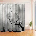 Halloween Skull With Grave Shower Curtain set with hooks Bathroom decor 71inch