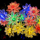 30 Led Solar Fairy String Lights Lotus for Garden Homes Christmas Party Patio