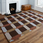 HAND WOVEN CHOCOLATE BROWN KILIM RUG EXTRA LARGE CLEARANCE FLAT WOOL STRIPE RUG