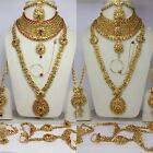 Indian Traditional wedding bridal complete Necklace earr tikka nose ring set