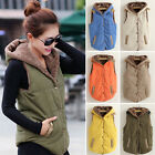 Women Hooded Waistcoat Sleeveless Vest Top Winter Warm Casual Fleece Jacket Coat