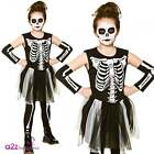 GIRLS SKELETON HALLOWEEN SKELEBONES KIDS TUTU FANCY DRESS COSTUME 3-13 YEARS