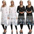 Muslim womens Chiffon Print Flower Maxi Shirt Dress Arab Islam Blouse Top Kaftan