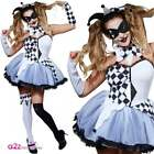 Womens Jesterella Clown Joker Jester Halloween Adult Fancy Dress Costume UK 6-18