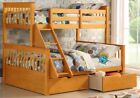 Wooden Triple Bunk Bed In Oak With Drawers - 3ft & Double Beds | 2 Free Pillows
