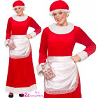 DELUXE MRS SANTA CLAUS ADULT CHRISTMAS FANCY DRESS COSTUME DRESS + APRON + HAT