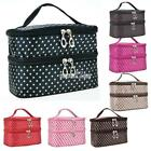New Women's Fashion Portable Double-Deck Toiletry Bag Dot Pattern S0BZ
