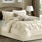 Full Queen Cal King Bed Ivory Cream Pintuck Pleat 7 pc Comforter Set Bedding image