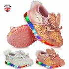 New Girls Kids Babies Trainers LED Flashing Light Up Bunny Shoes Sneakers Size