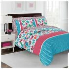Full Queen King Bed Bag Blue Pink White Floral Vine Dot 7 pc Comforter Sheet Set