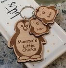 PERSONALISED MOTHERS CHRISTMAS PENGUIN CHICKS WOODEN KEYRING MUM MUMMY BIRTHDAY