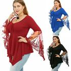 Women Plus Size Casual V-Neck Long Trumpet Sleeve Asymmetrical Tunic EN24H