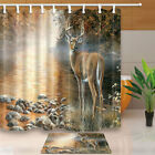 Animal Deer Picture Bathroom Polyester Fabric Shower Curtain Set 71Inch Long