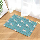 Cat With Brench On Blue Background Bathroom Fabric Shower Curtain Set 71Inches