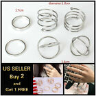 6pcs Set Silver Ring Crystal Above Knuckle stacking Band Midi Mid Ring Jewelry