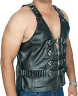 BLACK Mens Real Leather Gilet Biker Cut Waistcoat Vest  Most Sizes
