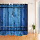 Nary Blue Wooden Board Fence Bathroom Fabric Shower Curtain Set 71Inch Long