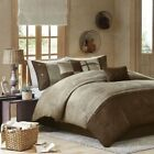 Queen Cal King Bed Brown Taupe Microsuede Earth Tones 7 pc Comforter Set Bedding image