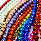 Metallic Glass Beads 8mm Round - Over 15 colours - 50 beads per string