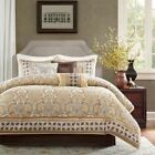 Queen Cal King Size Bed Gold Brown Medallion Damask 7 pc Comforter Set Bedding