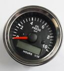 Electronic Oil Pressure Gauge Bar With Hourmeter Spin Lock Mounting 52mm 10Chrom