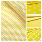 White and Yellow 100%Cotton Fabric,Polka dot, Chevron mini, Triangle, Butterfly,