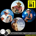 Kenny Chesney SET OF 4 BUTTONS or MAGNETS or MIRRORS pinback pins badges #1771