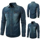 Fashion Men's Denim Jacket Coat Retro Slim Fit Casual Outwear Overcoat