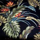 "58"" W  Hawaiian Print Palekaiko on Black, Gorgeous! Cotton Barkcloth Fabric"