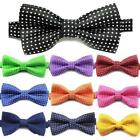 Unisex Mens Luxury 2 Layers Polka Dot Dickie Bow Tie Adjustable Clip UK