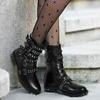 Womens Ladies Stud Ankle Boots Buckle Western Biker Strappy Flat Shoes Size