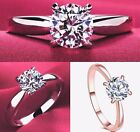 New Cubic Zirconia Rose Gold Or Silver Plated Womens Engagement Ring Sizes K - U