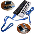 7 Port USB 3.0 Hub Power Switches AC Adapter Cable Splitter For Laptop Desktop