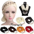 Women Beaded Scarf Turban Hat Cancer Chemo Hair Cap Head Wrap Necklace Scarf