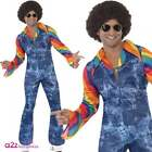 Mens 60s 70s Groovier Dancer Costume Adult Disco Hippy Hippie Fancy Dress Outfit