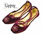 Womens Maroon Beaded Velvet Ankle Wrap Indian Leather Khussa Shoes Pumps