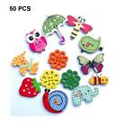 50Pc Mixed Bulk Animal Wooden Sewing Buttons Scrapbooking DIY Craft 2 Holes TR