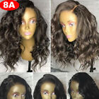 100% Brazilian Virgin Human Hair Lace Front Wig Natural Luxury BOB Wavy Party sp