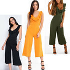 Womens Ladies Ruffle Frill Jumpsuit Top Trousers All In One Jumpsuit Palazo