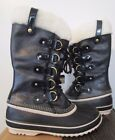 NIB Womens Sorel Joan of Arctic Holiday Wool Leather Insulated Snow Boots Black