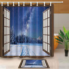 Window And Rorest At Winter With Sky Bathroom Fabric Shower Curtain 71Inches
