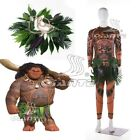 Moana Maui Cosplay Costume Printing Spandex Suit with Hula Skirt Decoration New