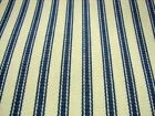 Blue Cream French Cotton  Ticking  Canvas Fabric 214cm Extra Wide
