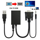 VGA Male To HDMI Output 1080P HD Audio TV AV HDTV Video Cable Converter Adapter