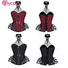 Gothic Lace up Corset Top Strappy Steampunk Vampire Overbust with Choker Adult