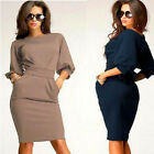 2017 Fashion Sexy Womens Short Sleeve Party Evening Bodycon Cocktail Midi Dress