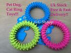 DOG CAT PLAY TOY RING TOY X2 TEETHING HEALTHY TEETH GUMS CHEW TOY DURABLE RUBBER